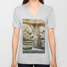 Mayan Stone Skulls Unisex V-Neck