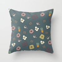 70s Throw Pillows featuring 70S Cafe by Cale potts Art