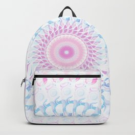 Pastel Wave Mandala in Pale Pink, White, and Lilac Backpack