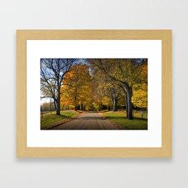 Rural country gravel road in Autumn Framed Art Print