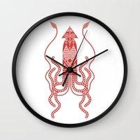 squid Wall Clocks featuring Squid by Hinterlund