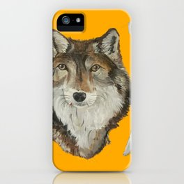 Lone Wolf on Gold iPhone Case