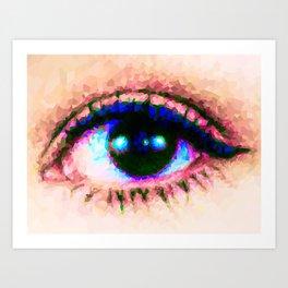 Cat Eye // Pixel Mosaic Color Blocking Art Art Print