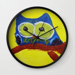 Owl Blue Wall Clock