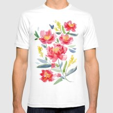 Floral Watercolor White MEDIUM Mens Fitted Tee