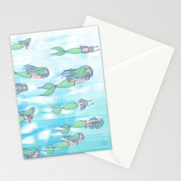 Mermaids dream by day Stationery Cards