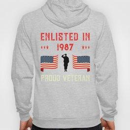 Veteran Enlisted 1987 Quote Proud Vet American Flag Served Premium design Hoody