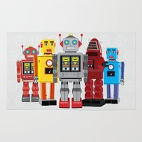 robots Area & Throw Rugs featuring robots by notbook
