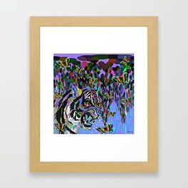 Tigers and Butterflies and Waterfalls #2 Framed Art Print