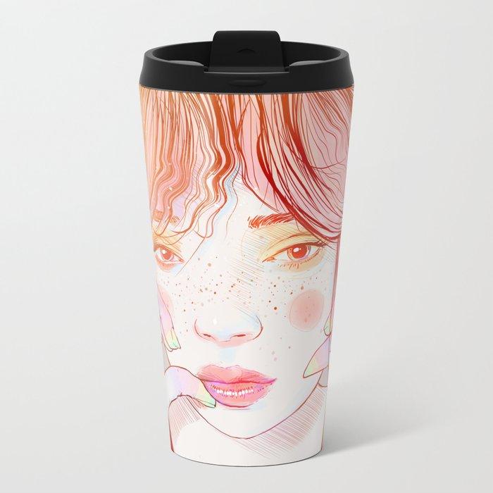 Colorful face Metal Travel Mug