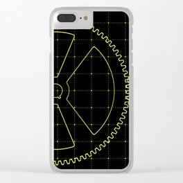 Set of yellow gears and cogs on virtual screen Clear iPhone Case