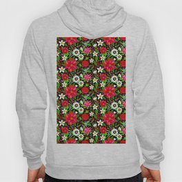 Christmas Flowers and Holly, Poinsettia, Roses and Lilies, holidays, girls floral gift, gift for mom Hoody