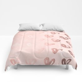Rosegold Hearts on Pink Comforters