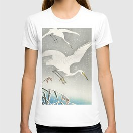 Egrets Descending from the sky - Vintage Japanese Woodblock Print Art T-shirt