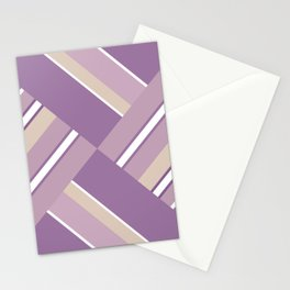 Abstraction . Light lilac pink stripe combo pattern . Stationery Cards