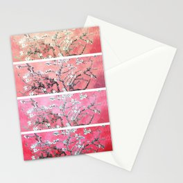 Van Gogh Almond Blossoms Deep Pink to Peach Collage Stationery Cards