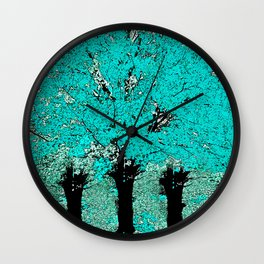 Trees Green Three Wall Clock