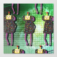 katamari Canvas Prints featuring Katamari Cousins - Dipp by cakeisforrobots