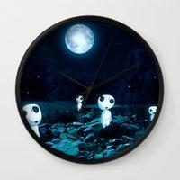 kodama Wall Clocks featuring Princess Mononoke (Kodama) by pkarnold + The Cult Print Shop