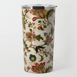Red Green Jacobean Floral Embroidery Pattern Travel Mug