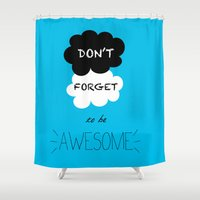 tfios Shower Curtains featuring DFTBA TFIOS Nerdfighter Vlogbrothers Don't Forget to be Awesome, The Fault in Our Stars, John Green by Corrie Jacobs