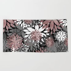 Pretty rose gold floral illustration pattern Beach Towel