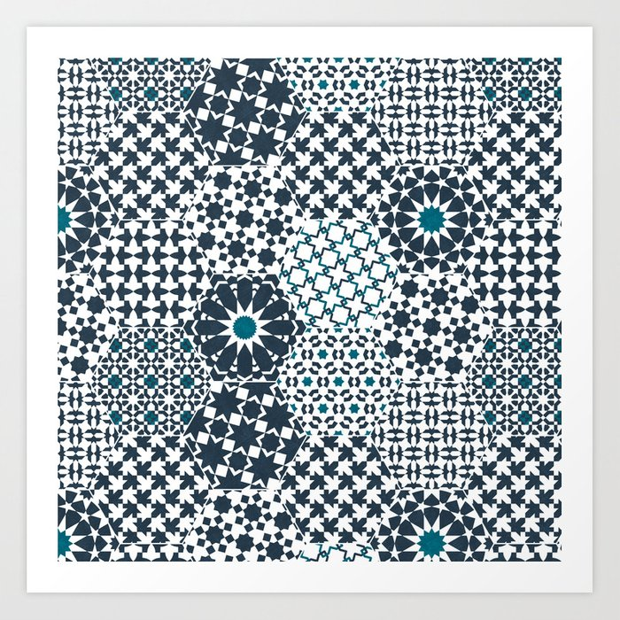 Spanish Tiles of the Alhambra - Gray & dark Aquamarine Art Print