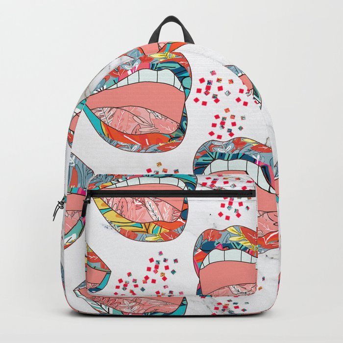 Exotic Floral Lips Backpack