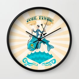 Gone Fishin' Wall Clock