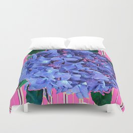 BLUE ABSTRACTED HYDRANGEA YELLOW-PINK Duvet Cover