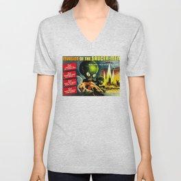 Horror Sci-Fi Movie Vintage Poster - invasion Unisex V-Neck