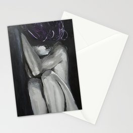Tasteful Nude Oil paint on canvas painting, fetal position, black and white, purple, woman Stationery Cards