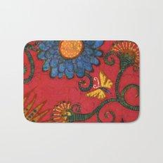 Batik butterflies and flowers on red Bath Mat