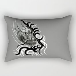Dragon in Tattoostyle , black - white and grey Design Rectangular Pillow