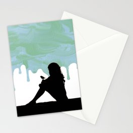Girl with a bird over a dripping paint Stationery Cards
