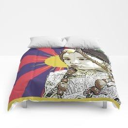 A little Tibetan girl Comforters