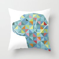 labrador Throw Pillows featuring Geo Labrador by Jonathan Hall