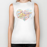 library Biker Tanks featuring Library Heart by Rhymes With Magic Art