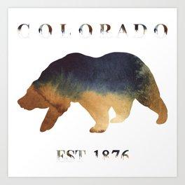 Watercolor Bear Colorado Established 1876 Art Print