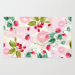strawberries w kisses Rug