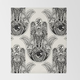 Hamsa Hand Elephant Throw Blanket