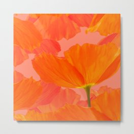 Beautiful Poppies Coral Color Background #decor #society6 #buyart Metal Print