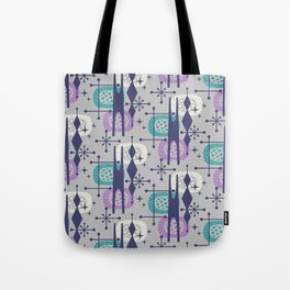 Retro Atomic Mid Century Pattern Grey Teal Blue and Lavender Tote Bag