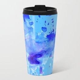 Blue Watercolor Blot Travel Mug