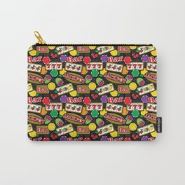 Casino Pattern of Jackpot Fruit Slot Machines on Grey Carry-All Pouch