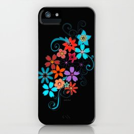 Colorful Flowers on black background iPhone Case