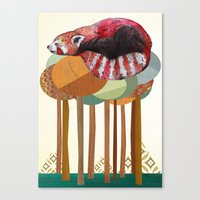 red panda Canvas Prints featuring Red Panda by Sandra Dieckmann