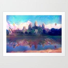 Hazy Reflection Angkor Wat Art Print
