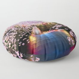 Cherry Blossom in pink   Japan Nakameguro River Floor Pillow