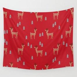 Rudolph christmas santa's reindeer forest winter deer Wall Tapestry
